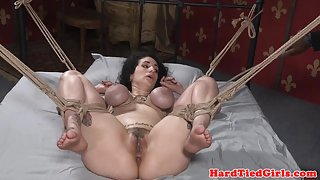 Breastbonded submissive disciplined with cane